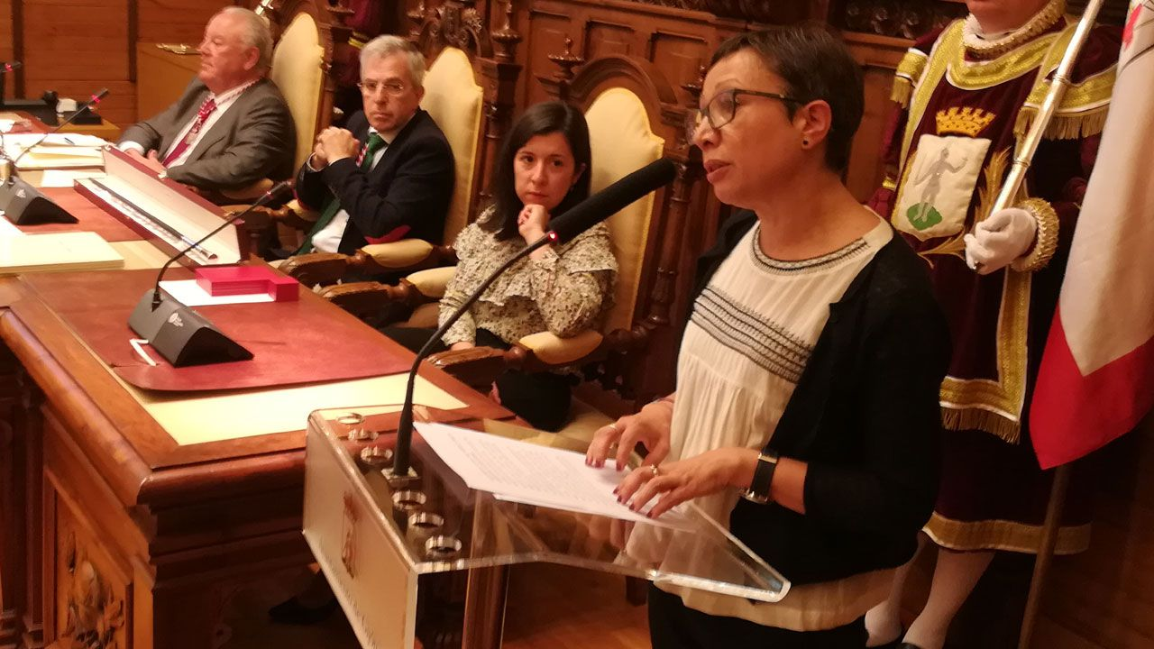 El Rey recibe en Zarzuela a las presidentas del Congreso y del Senado.Yolanda Huergo, durante su discurso de investidura