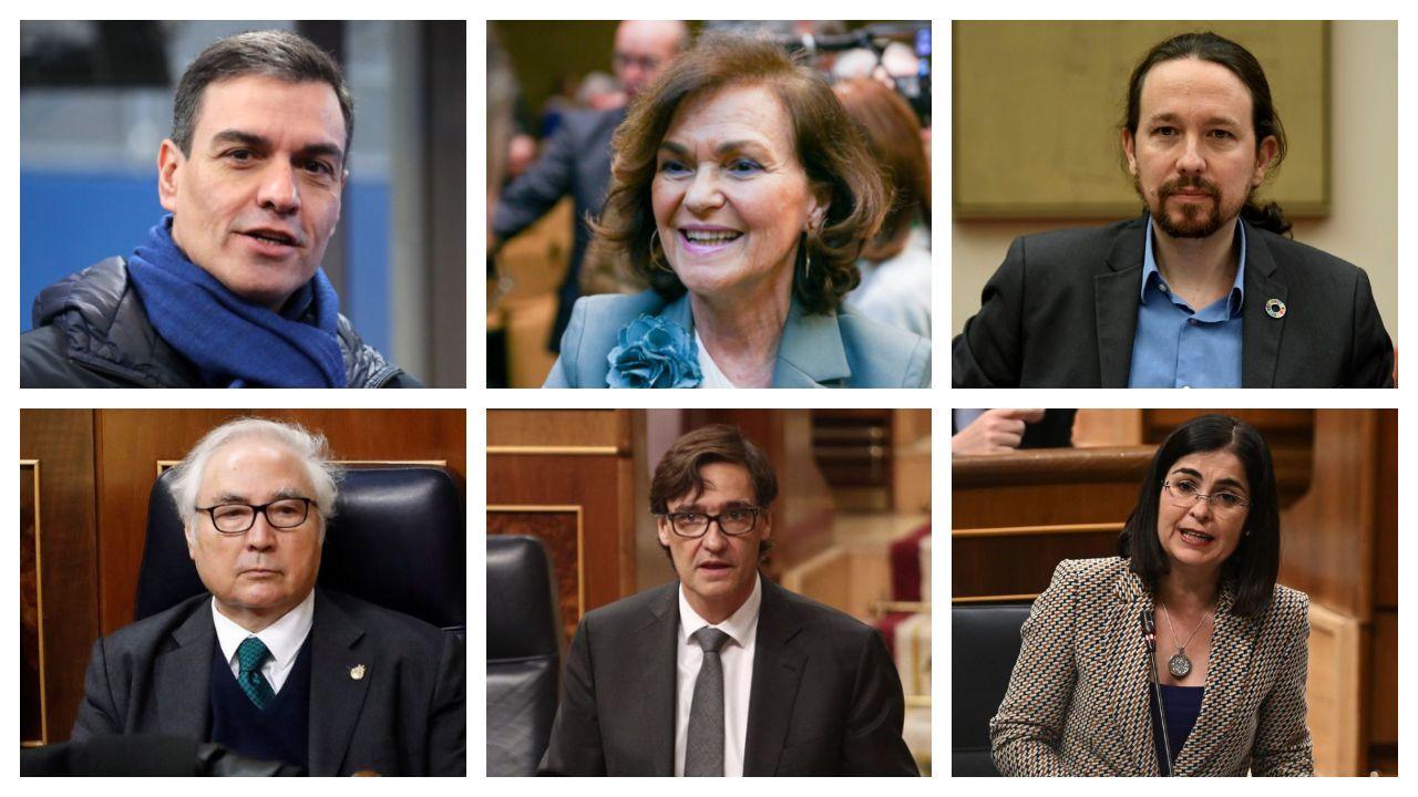 La vicepresidenta primera del Gobierno, Carmen Calvo, con el número dos de la Generalitat, Pere Aragonès