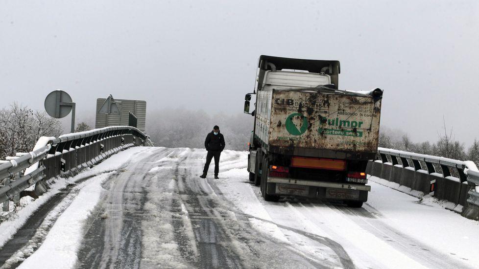 Muchos camiones, como este en el acceso al corredor Lugo-Monforte desde Oural tuvieron que detenerse ante la intensidad de la nevdada