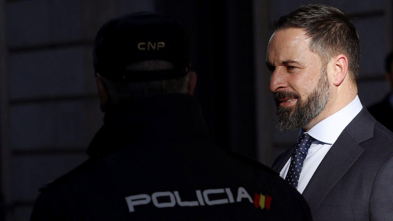 El presidente de Vox, Santiago Abascal, este martes, a su entrada en el Congreso