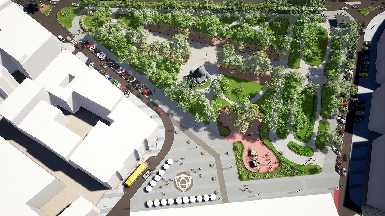 La habitación del futuro de ArcelorMittal.Infografía con vista general de cómo quedará el parque de El Muelle tras la remodelación