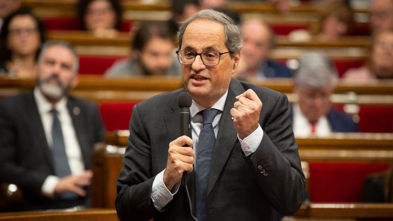 Torra comparece tras ser inhabilitado.Encuentro entre el presidente Sánchez y Torra el 20 de diciembre del 2018 en Barcelona
