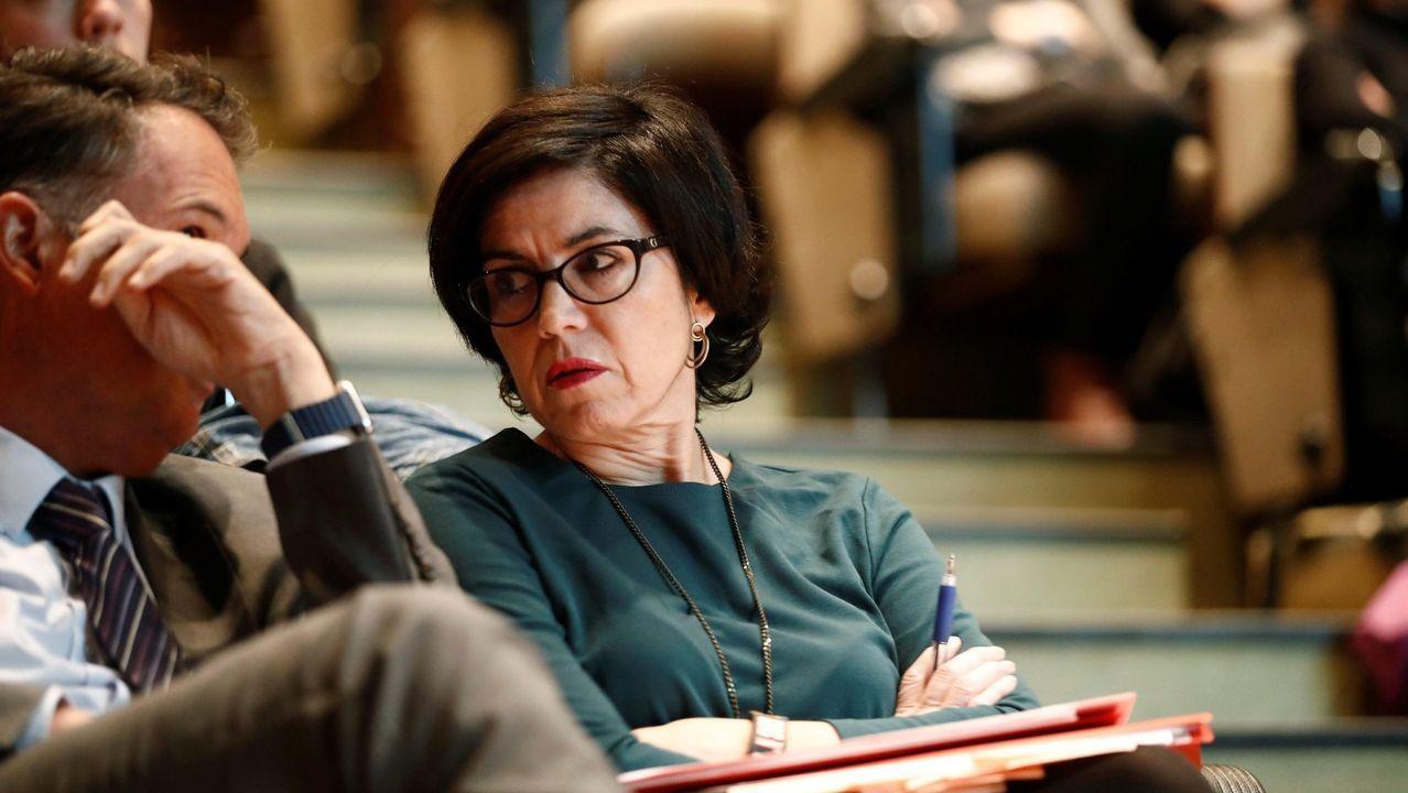 La jueza Pilar de Lara, el pasado mes de abril, en un acto celebrado en Lugo
