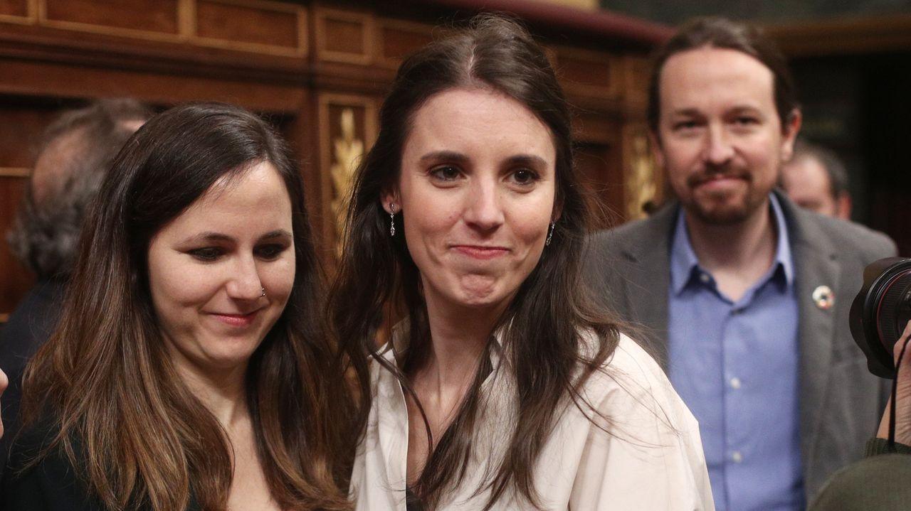 Ione Belarra, Irene Montero y Pablo Iglesias, de Unidas Podemos
