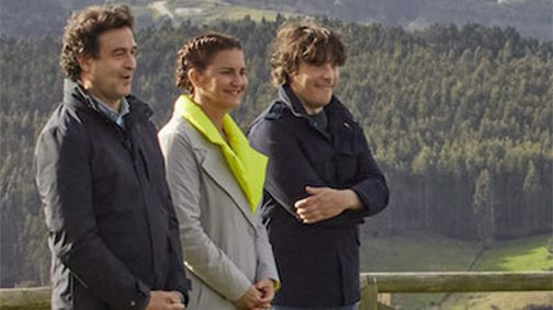 Los jueces de MasterChef, Pepe Rodríguez, Samantha Vallejo-Nágera y Jordi Cruz, en un momento de la grabación en Asturias