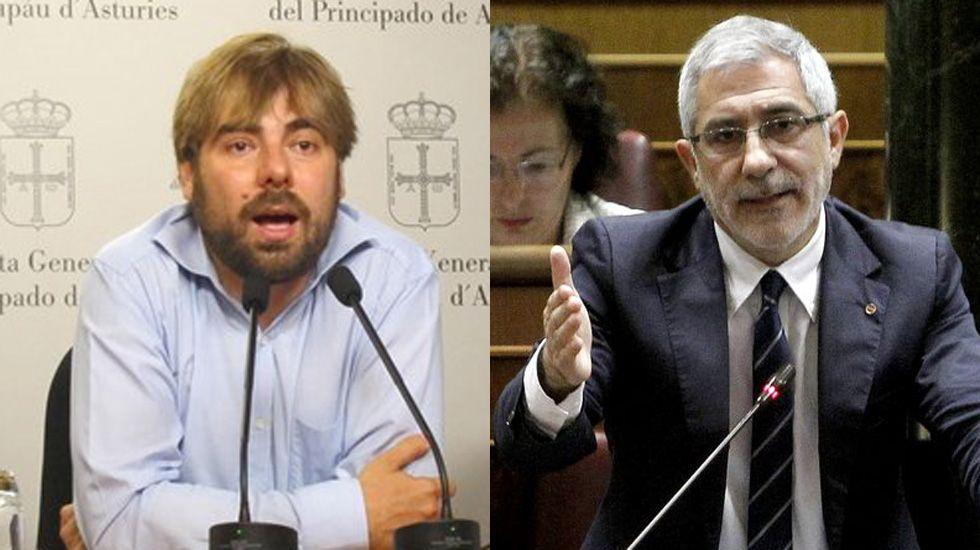 «Fuera fartones», en imágenes.Daniel Ripa y Gaspar Llamazares.