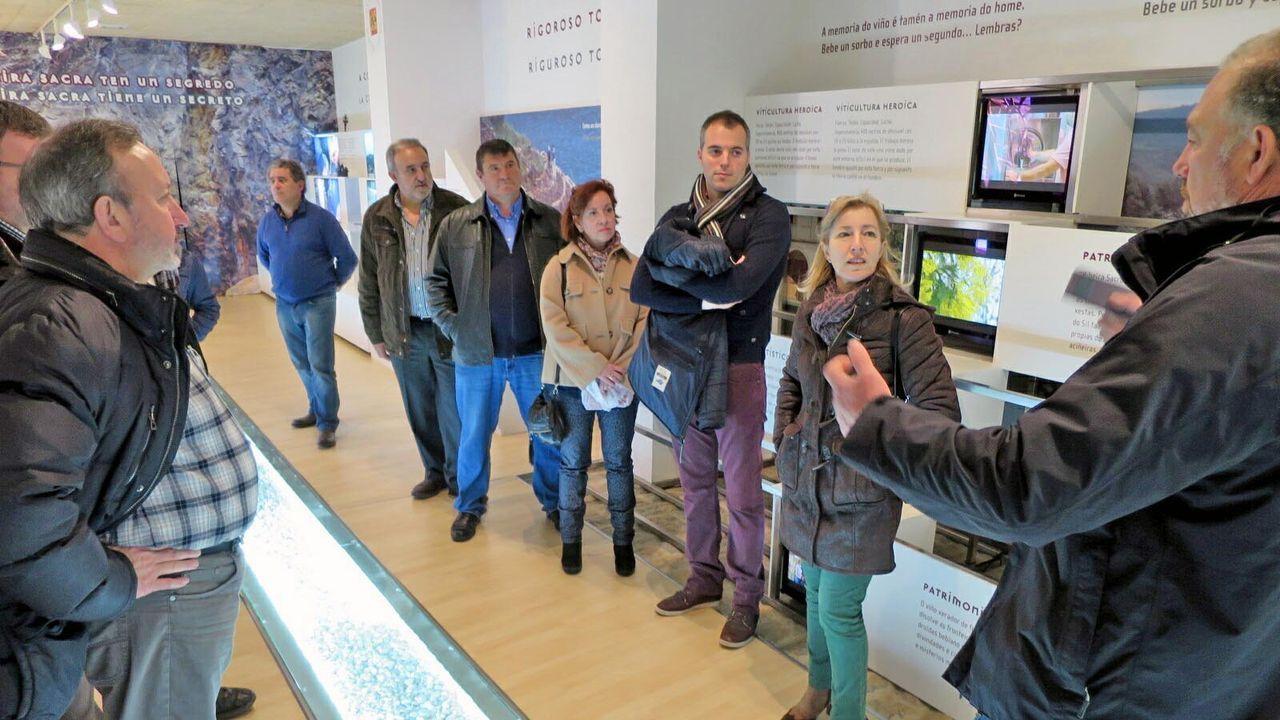 Miembros de la asociación navarra de sumilleres en una visita al Centro do Viño da Ribeira Sacra