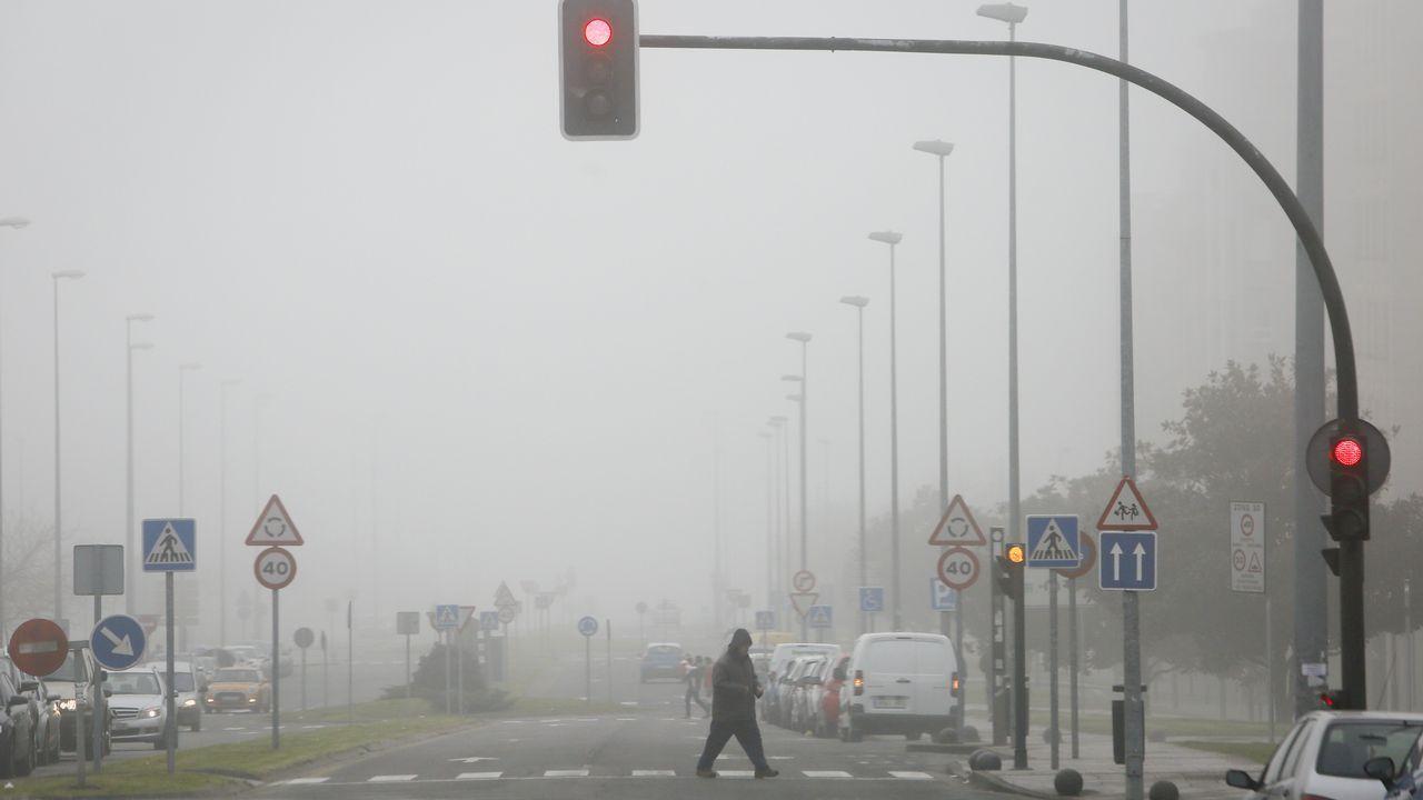 Galicia en alerta por la borrasca Helena.La avenida de Madrid de Lugo llena de nieble ayer hasta las primeras de la tarde