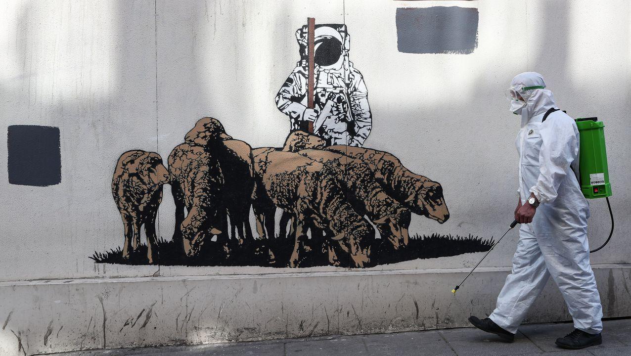 Un trabajador realiza labores de desinfección en una calle turca