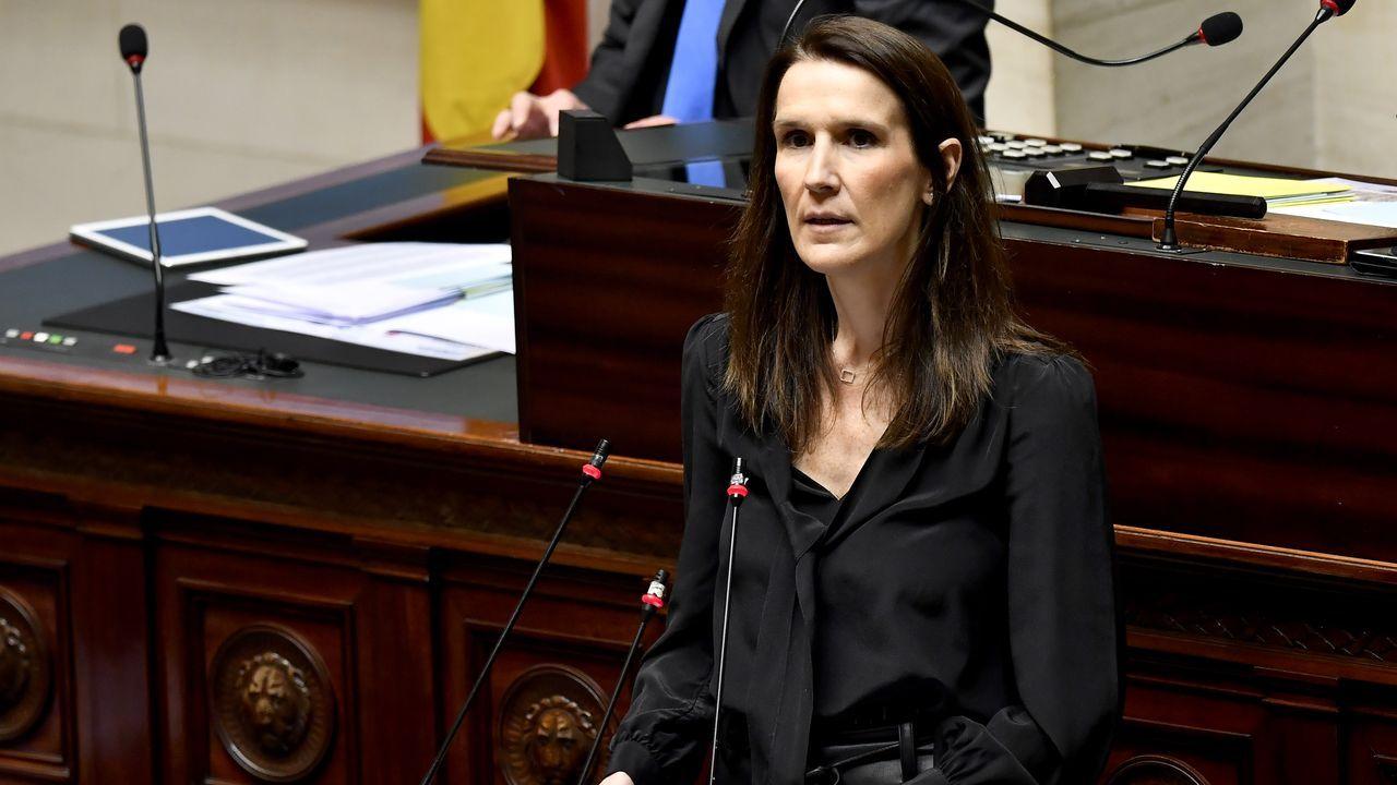 La primera ministra Sophie Wilmes, en su comparecencia en el Congreso belga
