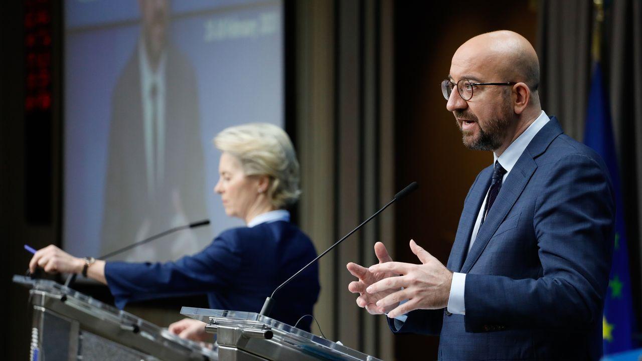 Charles Michel y Von der Leyen, en la rueda de prensa tras el úlitmo dia de cumbre europea