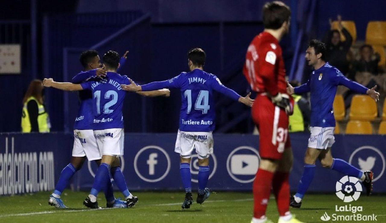 Bárcenas, Nieto, Jimmy y Borja Sánchez celebran el segundo gol del panameño al Alcorcón