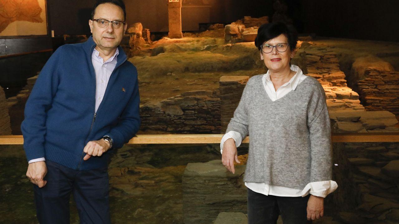 El vicerrector de Cultura de Lugo, Varela Zapata, y la profesora Dopico dirigen la Domus do Mitreo.