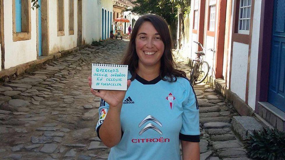 Beatriz López, miembro de London Celtas, está estos días en Brasil y lleva al equipo con ella