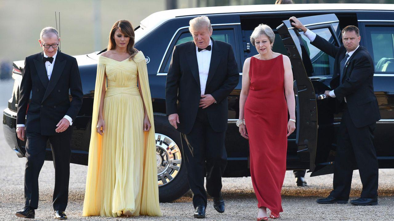 Theresa May y su marido acudieron a una cena de gala junto al matrimonio Trum el jueves en Blenhmein Palace.