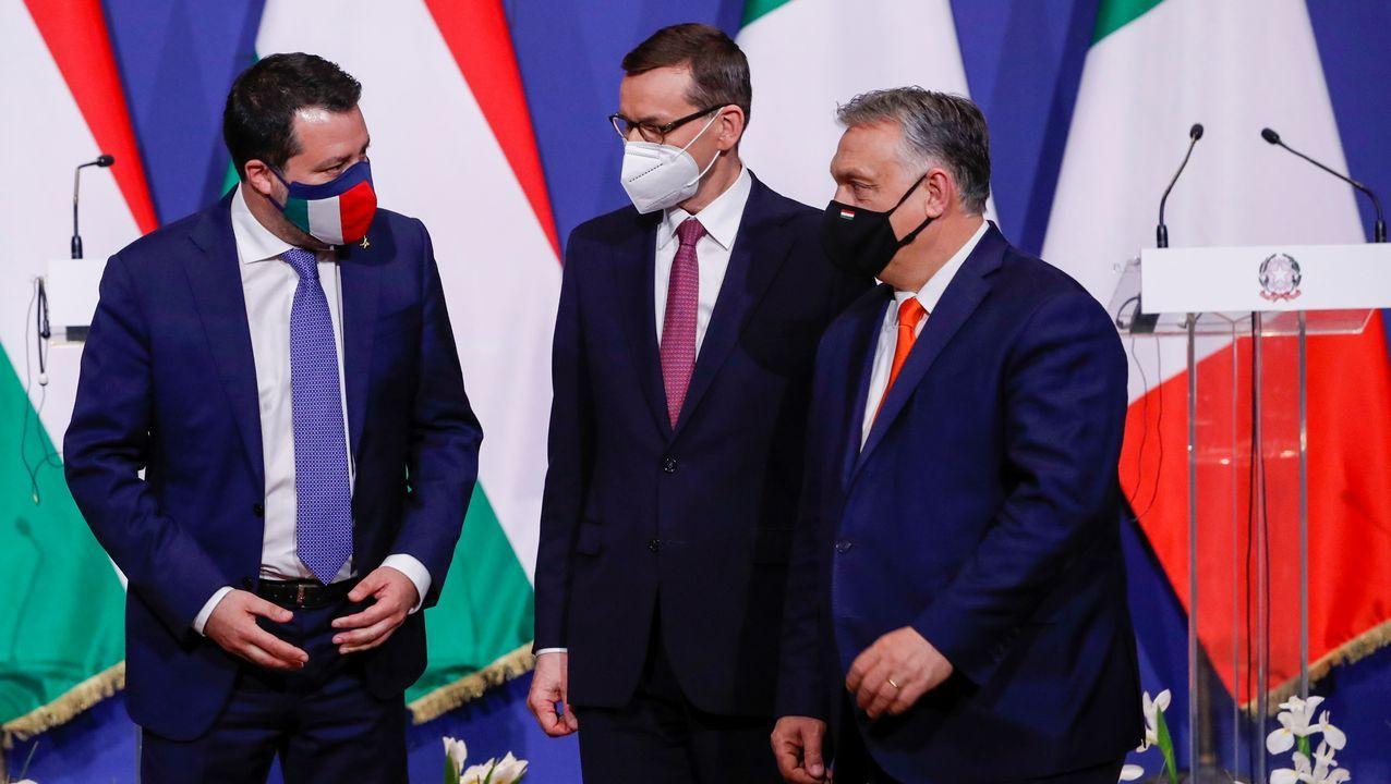 El húngaro Orbán charla con el italiano Salvini y el polaco Morawiecki