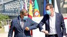 Rueda de prensa conjunta de los alcaldes de Tui y Valença do Minho para pedir la apertura de la frontera entre España y Portugal