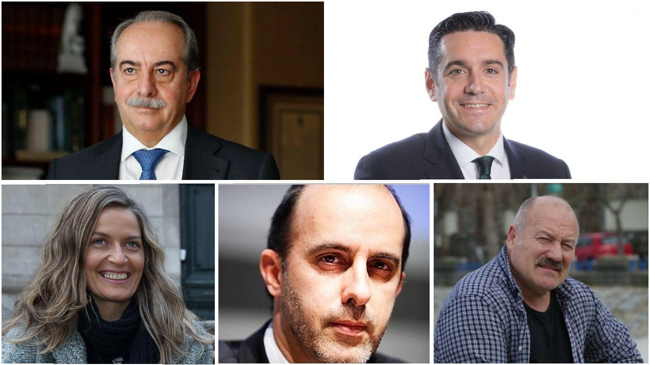 De izquierda a derecha y de arriba abajo, Antonio Couceiro, David Villasuso, Emma Lustres, Carlos Cantó y Eduardo Blanco