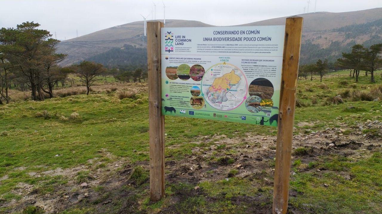 Panel informativo del programa Life in common land colocado en el municipio de Muras