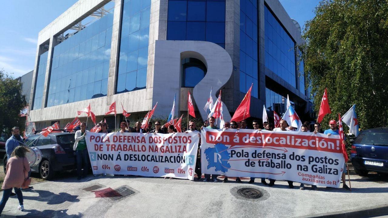 Protesta de trabajadores de subcontratas de R en A Coruña