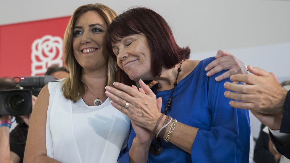 Susana Díaz: «El PSOE no es patrimonio solo de sus militantes».Susana Díaz y Javier Fernández