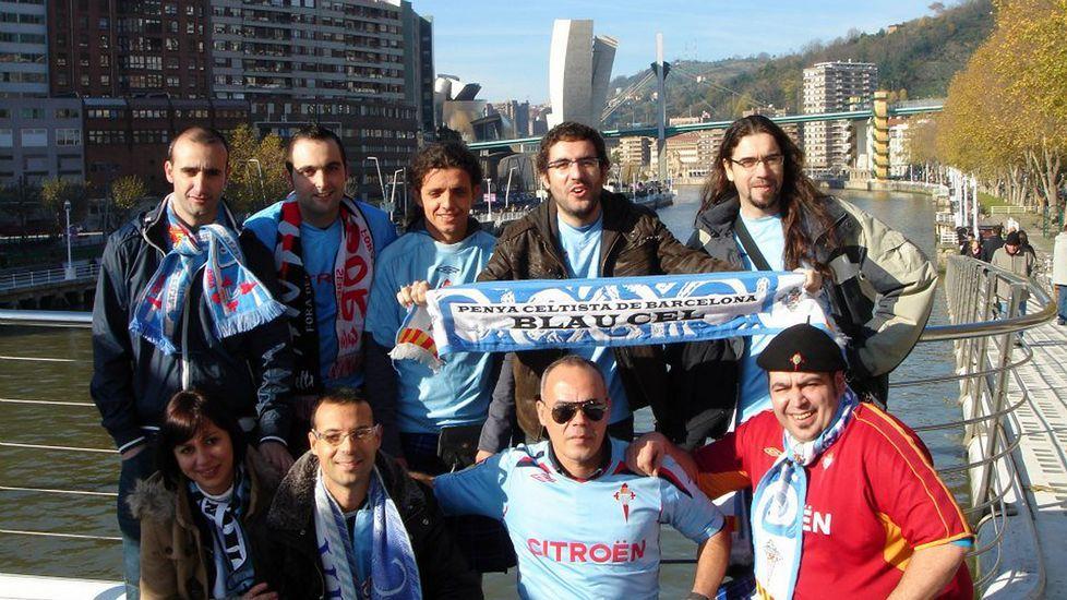Integrantes de Blau Cel, en un viaje a Bilbao.