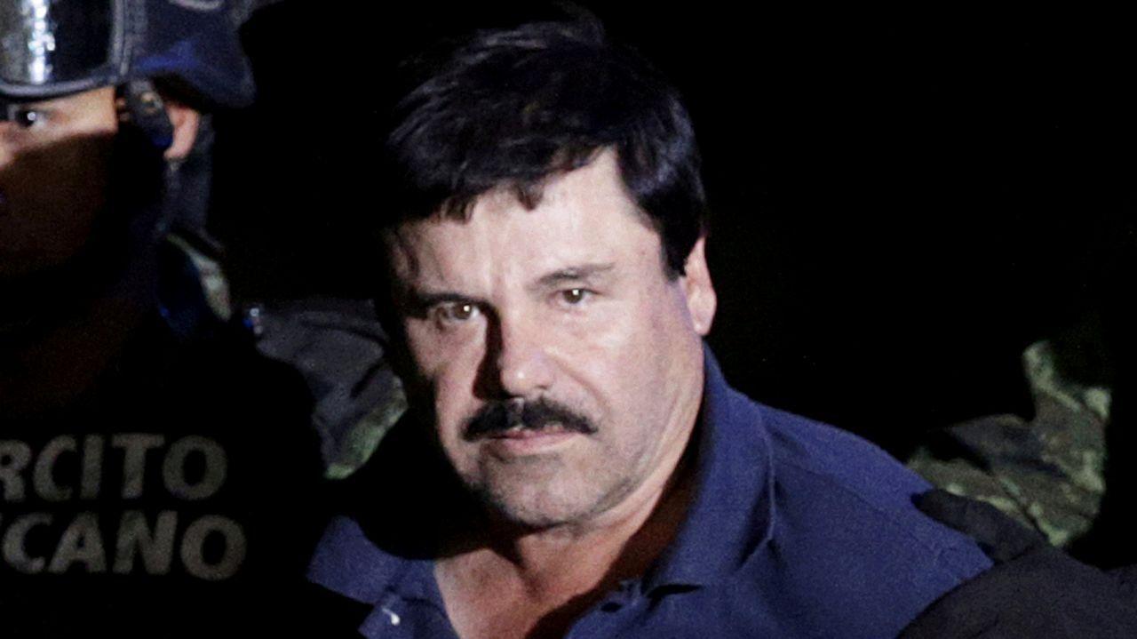 Dibujo de la primera sesión del juicio al Chapo Guzmán.El líder del cártel mexicano de Sinaloa, Joaquín «El Chapo» Guzmán