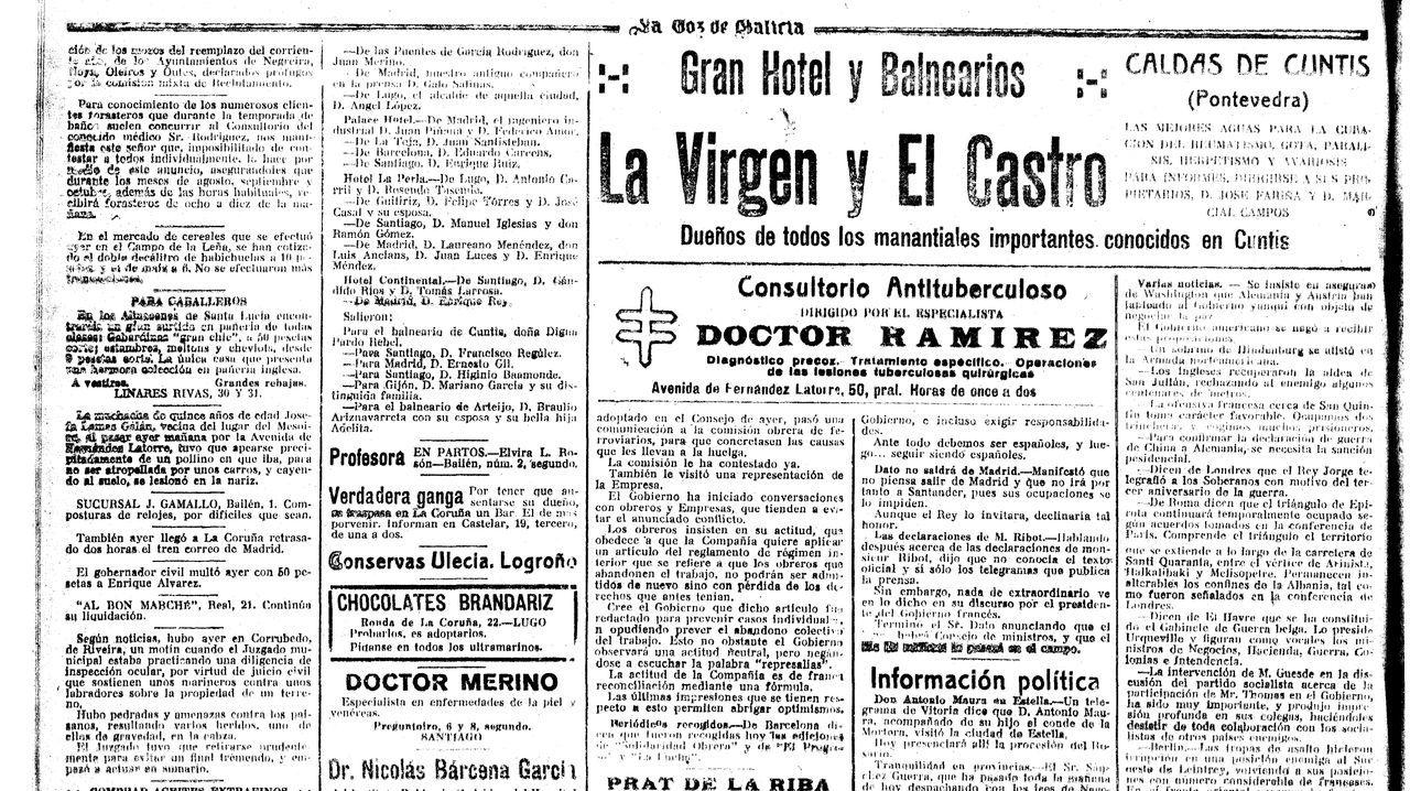Página en la que salió publicado el suceso, el 4 de agosto de 1917