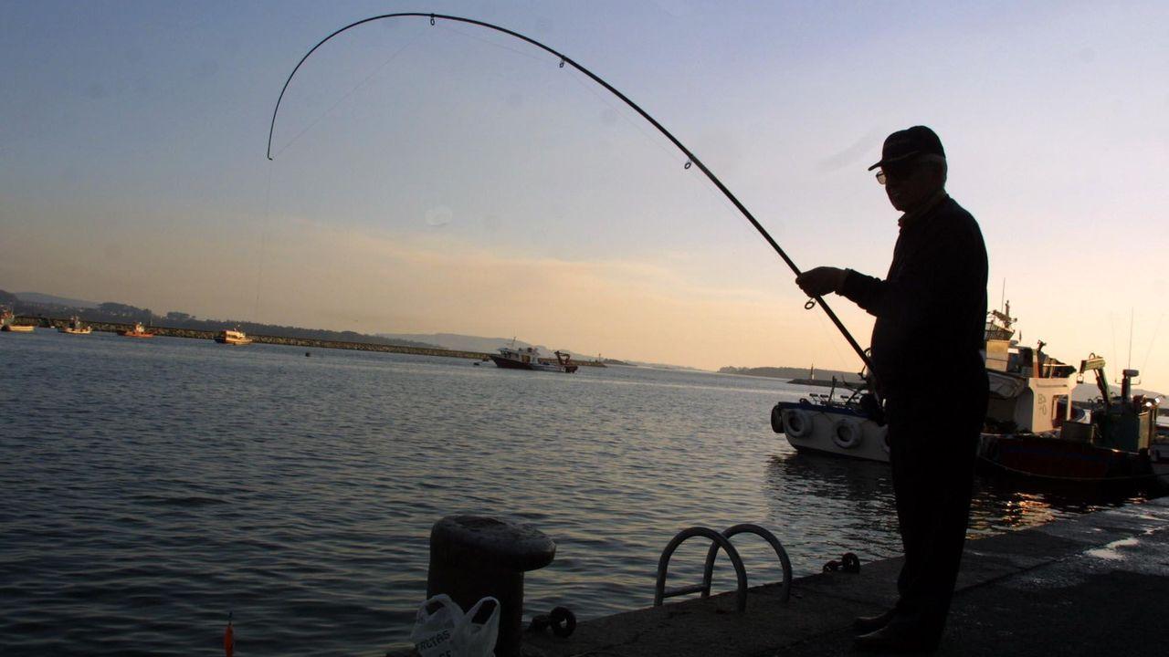 Los pescadores aficionados se manifiestan en Burela.Un pescador recreativo practicando su afición desde un muelle gallego, en una imagen de archivo