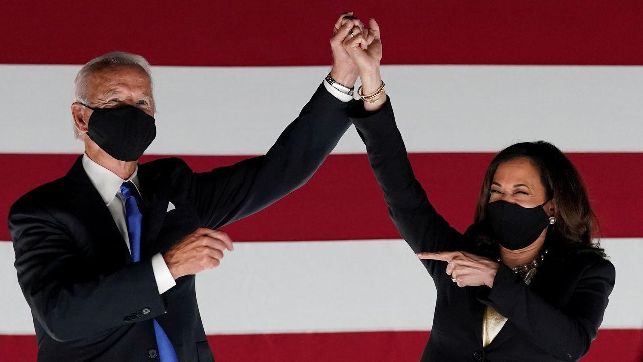 Biden y Harris durante la campaña