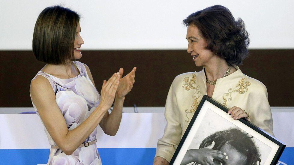 Las dos reinas en el acto de Unicef.La cartera de mano, en el mismo tono, también la firmaba el diseñador madrileño. Además de traje, Letizia repitió también el recogido que lució en París