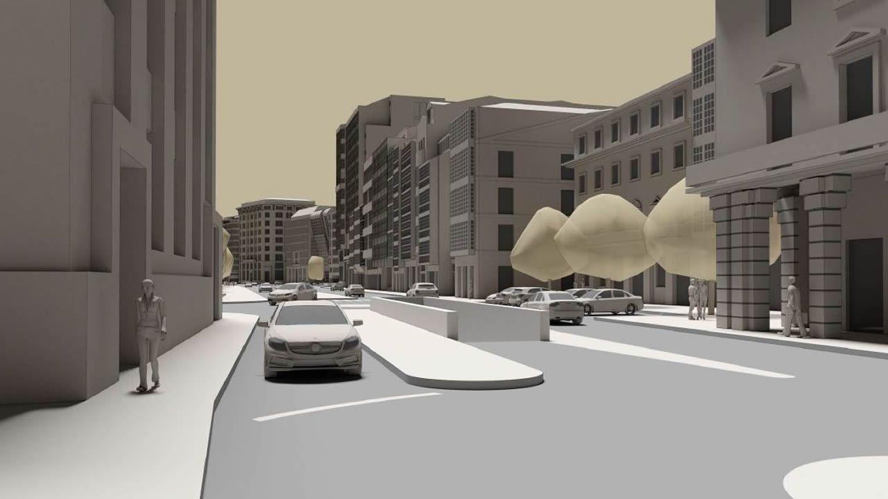 En el entorno de la Subdelegación del Gobierno, hoy dominado por el vehículo privado, se gana espacio para peatones y se recuperan elementos de la antigua plaza de la Aduana, como se aprecia en la imagen siguiente