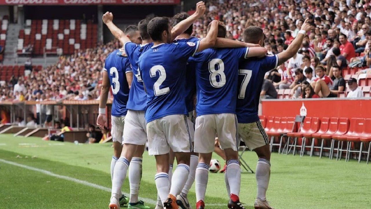 Bergantiños-Villarrubia: ¡las imágenes del trascendental partido!.Los jugadores del Vetusta celebran un tanto al Sporting B