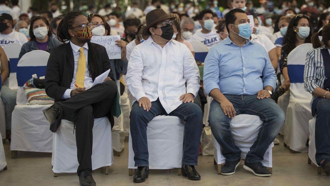 Tres de los cinco candidatos a la presidencia de Nicaragua detenidos en los últimos días: George Enríquez, el empresario y periodista Miguel Mora y Félix Maradiaga, en una imagen del pasado mayo