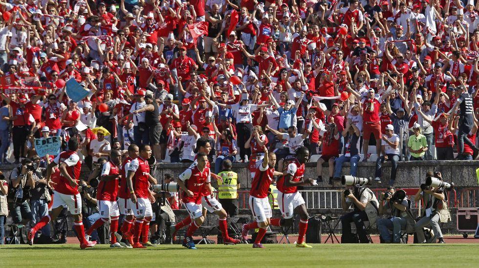 Previa del Teresa Herrera femenino.Jugadores del Braga en la final de Copa de Portugal el pasado mes de mayo