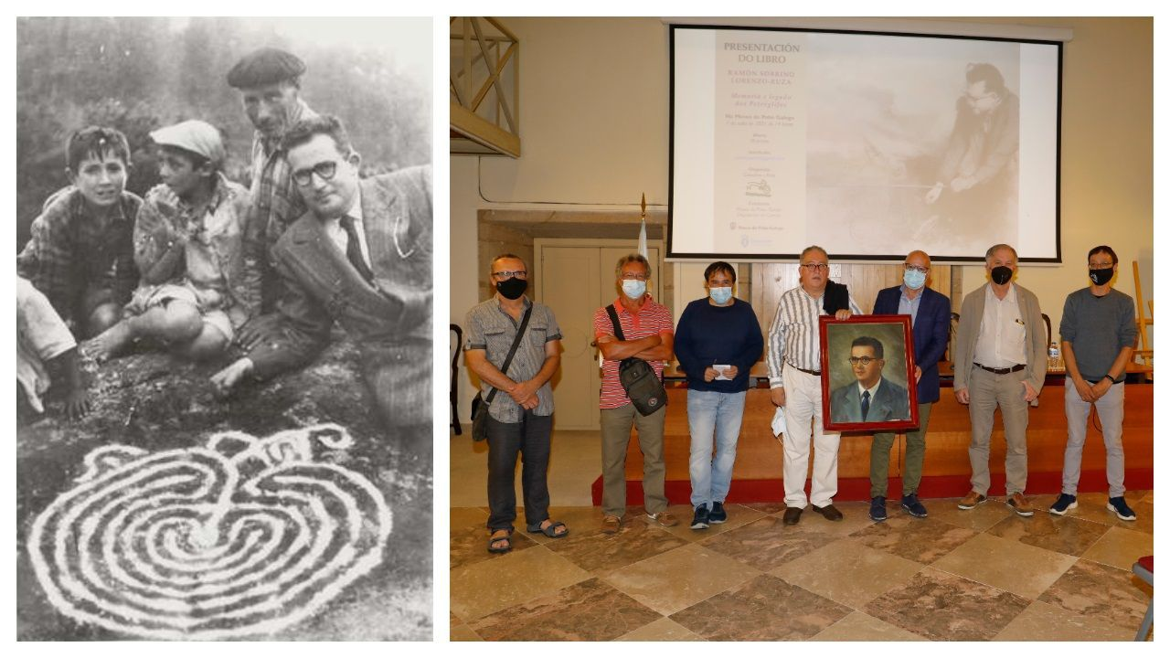 Ramón Sobrino Lorenzo, retratado junto a un petroglifo. A la derecha, presentación del libro que reivindica su legado