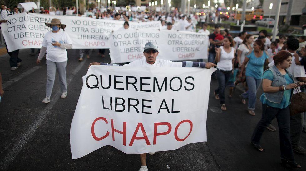 El recorrido por el túnel del Chapo Guzmán.Manifestación a favor del Chapo Guzmán en febrero del año pasado