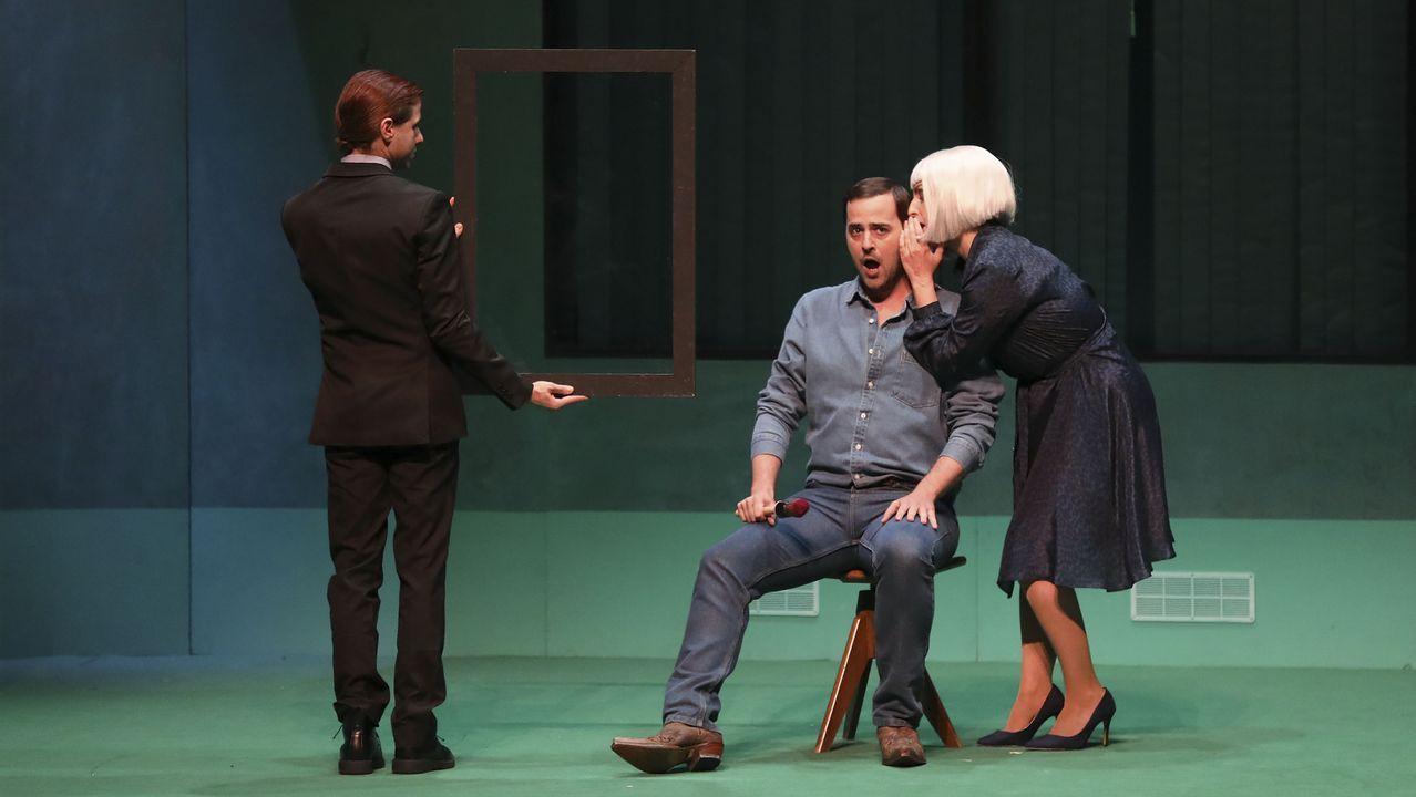 Detalle de la representación de la ópera «A amnesia de Clío» en su estreno absoluto en Santiago, en el Auditorio de Galicia