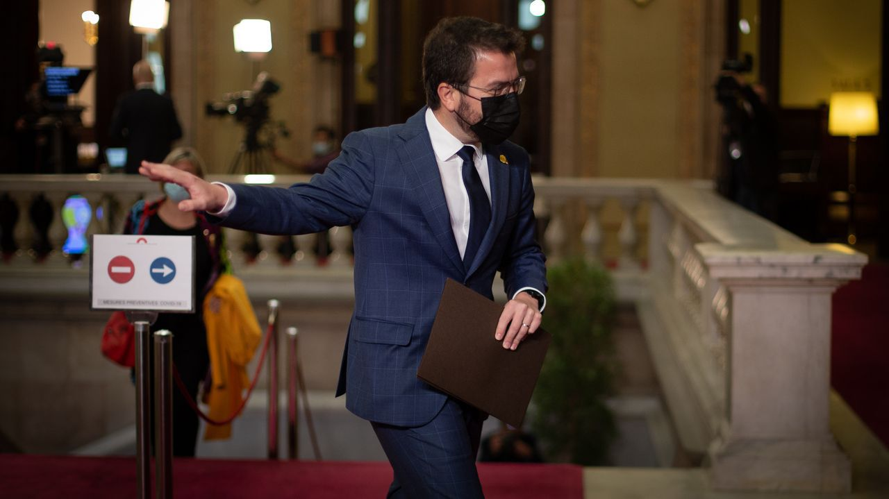 Pere Aragonès, candidato de ERC a la presidencia de la Generalitat, en el Parlamento catalán donde perdió la segunda votación para la investidura