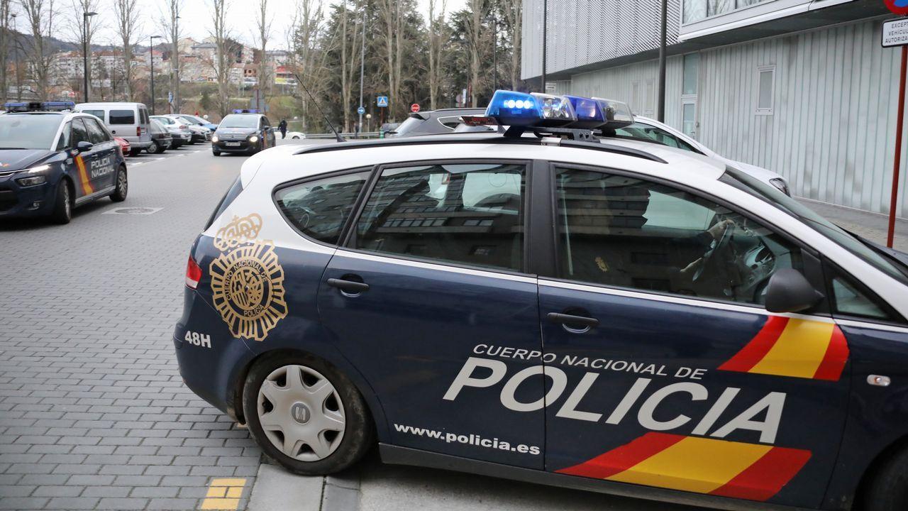Los detenidos, ayer, a su llegada a los juzgados de Ourense en los coches policiales