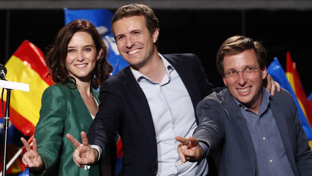 Martínez-Almeida da por hecho el pacto de PP, Ciudadanos y Vox en Madrid.Feijoo, durante la valoración de los resultados electorales por parte el PPdeG