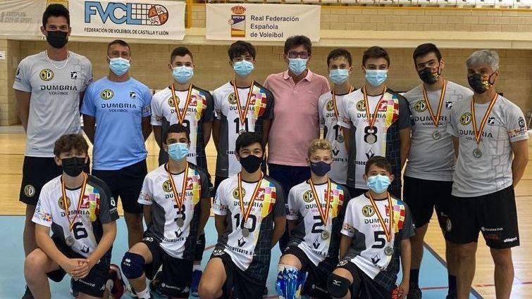Foto del equipo infantil del Dumbría. Seis jugadores fueron convocados con Galicia