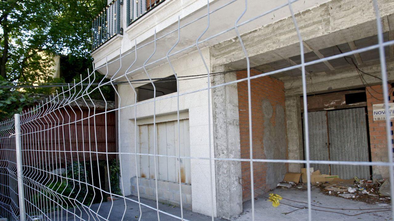 Algunas de las ranas del río Umia en Caldas.La sentencia obligó a realizar un derribo parcial del edificio ubicado en el número 57 de la calle Real de Caldas. En la imagen, su estado en julio del 2014