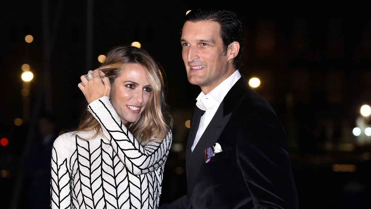 Rafa Medina y su mujer en la boda de Marta Ortega, en el 2018