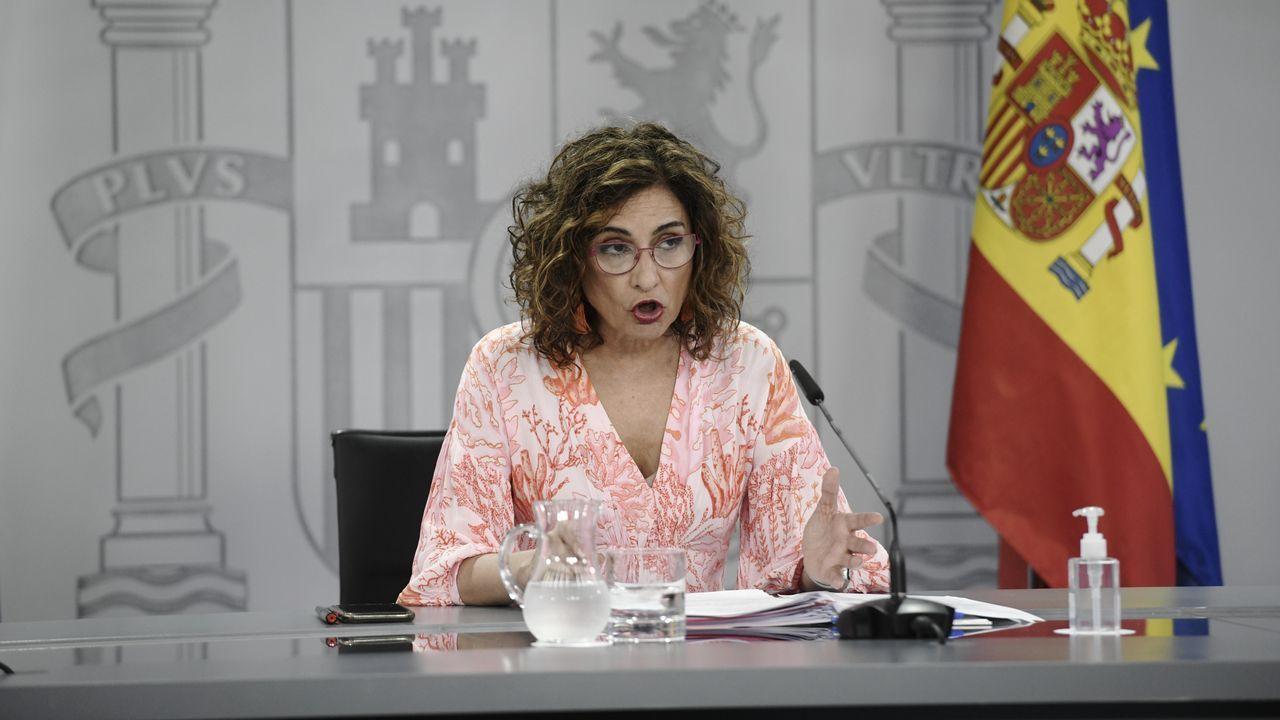 La ministra portavoz, María Jesús Montero, en la rueda de prensa posterior al Consejo de Ministros celebrada este martes en la Moncloa