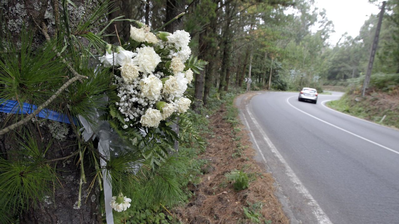 Flores depositadas en el lugar en el que en septiembre del 2013 apareció el cadáver de la vecina de Cabanas Elisa Abruñedo