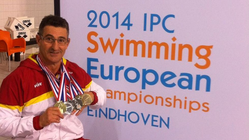 Chano Rodríguez. Natación. Tiene casi 60 años y saltará al agua en tres pruebas (50 y 100 libre y 200 estilos).