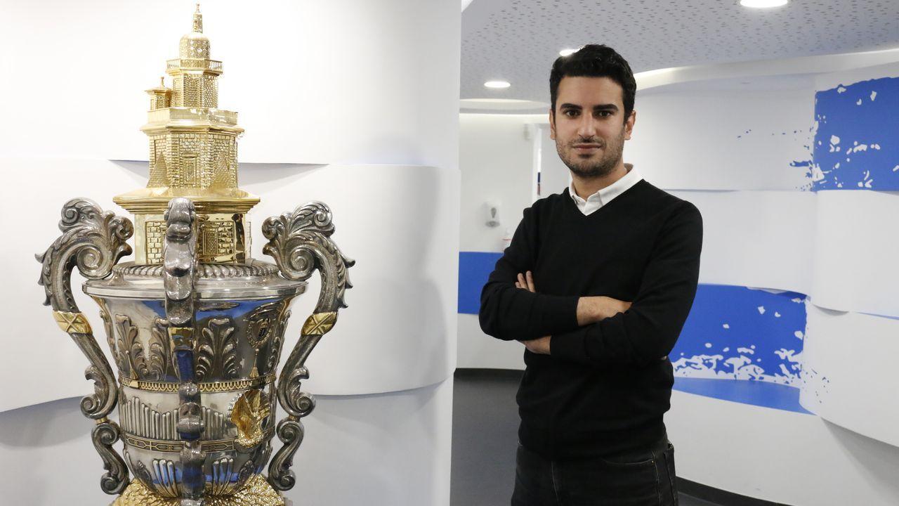 Pablo Brea, durante un encuentro entre el Fabril y el Bergantiños de esta temporada