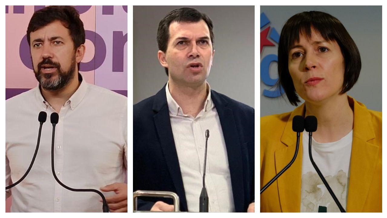 Antón Gómez-Reino (Galicia en Común), Gonzalo Caballero (PSdeG-PSOE) y Ana Pontón (BNG)