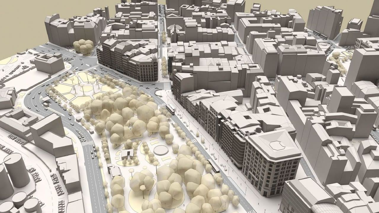 La recreación área muestra la configuración actual del tráfico en la plaza de Mina y la situación de la calle Compostela y, a continuación, el aspecto que tendrán en el futuro